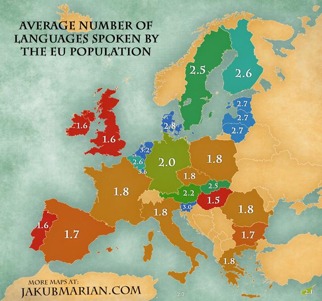 Quantos idiomas os Europeus falam?