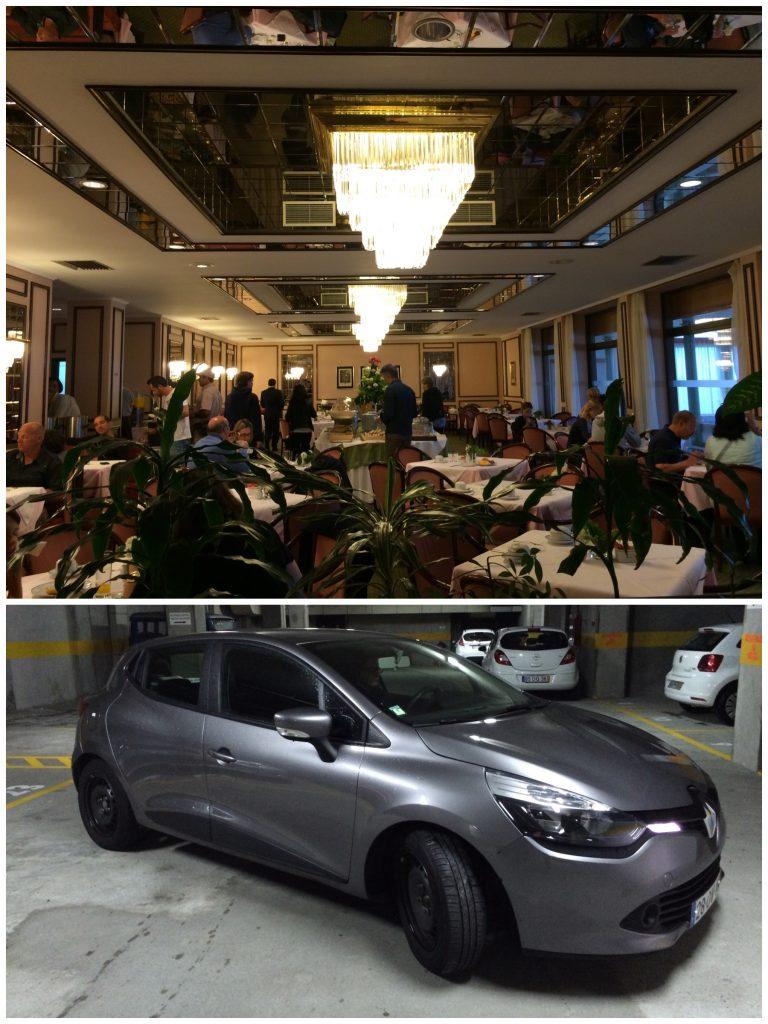 Café da manhã bem legal e o carro que conseguimos menos de Eur-50 com seguro total e quilometragem livre e segundo motorista