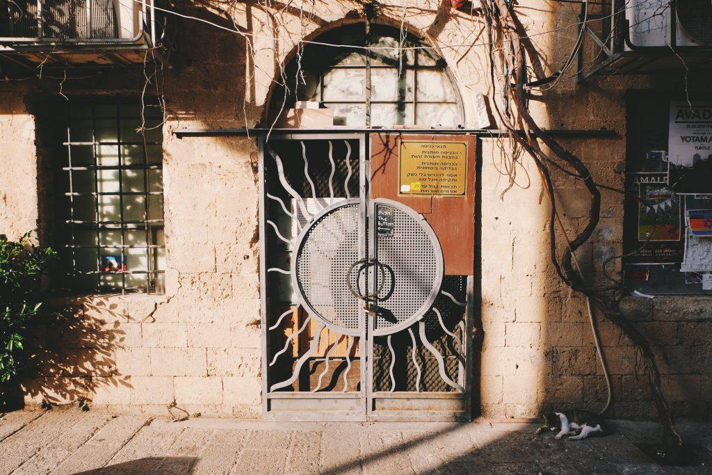 Duas coisas que você vai ver muito em Tel Aviv: portas lindas e gatos na rua
