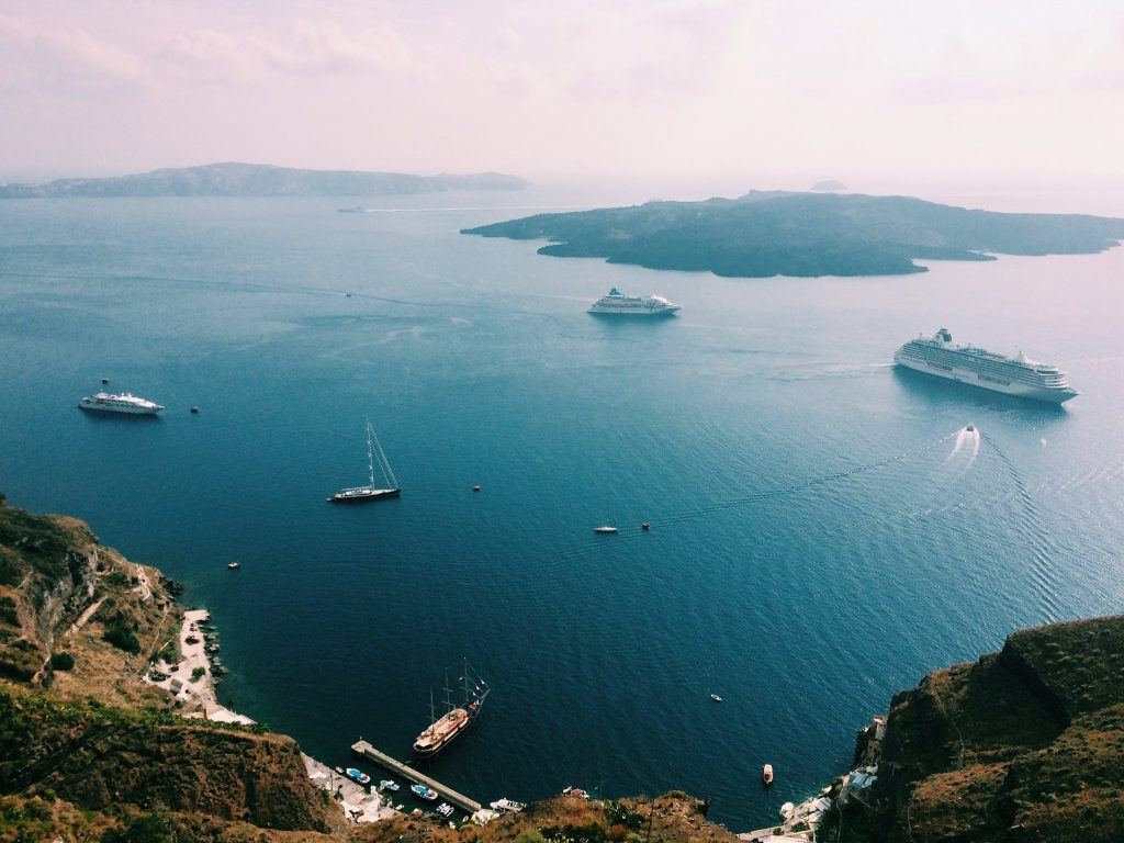 Minha primeira vista em Santorini, em Fira. Foto: Lalai Persson