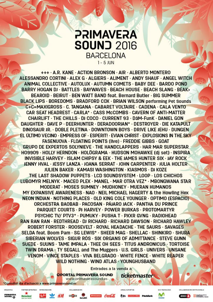 Line-up Primavera Sound 2016_alfabetic_cat