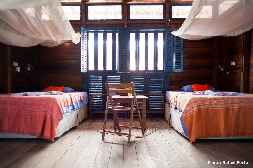 Foto de um dos quartos do Uacari Lodge. Foto: Rafael Forte