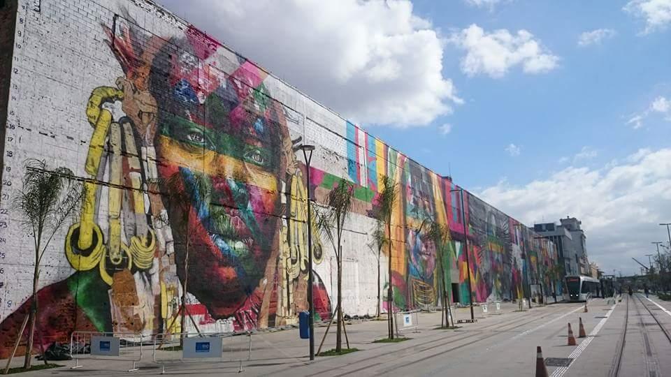 O mural 'Etnias', o maior grafite do mundo, segundo o 'Guinness Book'. Foto: www.boulevard-olimpico.com