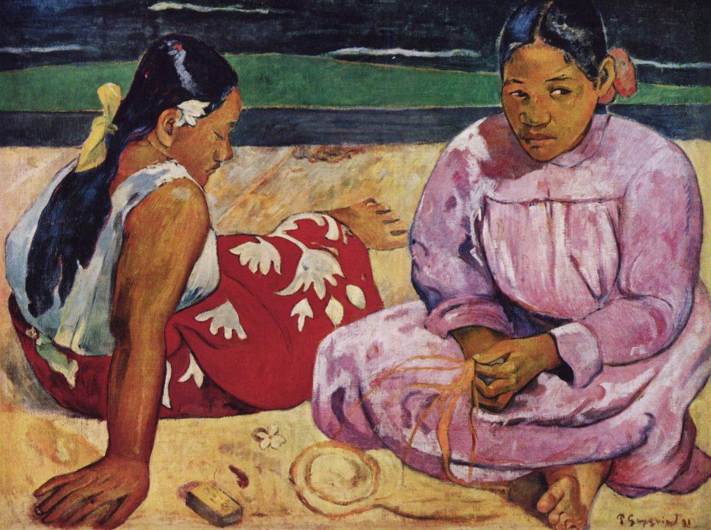 O quadro 'Mulheres de Taiti na praia', de Paul Gauguin, na exposição 'Triunfo da cor'