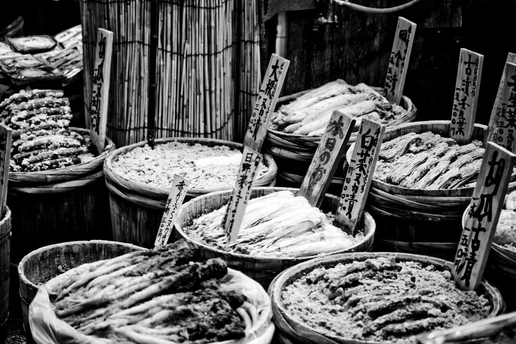 Produtos típicos encontrados em mercados em Kyoto. Foto: Lucas Gee