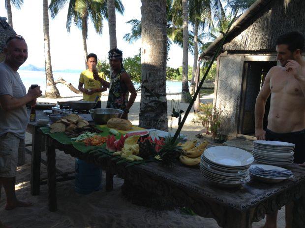 Café da manhã em um dos acampamentos