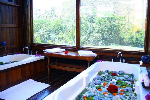 Nas Bruxinhas do Mato você pode fazer um banho de ervas e flores colhidas ali mesmo.