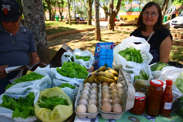 Nos fins de semana, tem feira de produtos orgânicos na praça central.