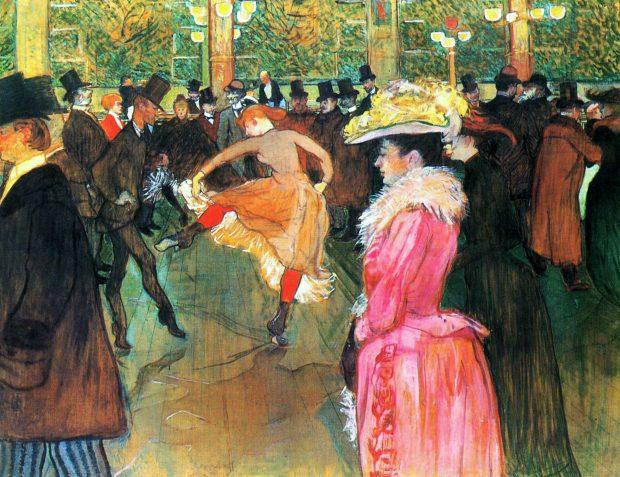 Henri Tolouse- Lautrec, Baile no Moulin Rouge, 1890. Wikipedia.