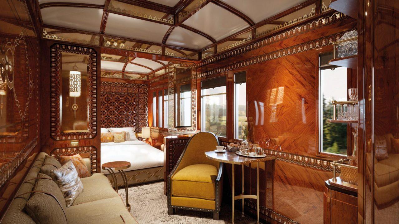 Dentro de uma das cabines mais luxuosas do Venice Simplon Orient Express - foto: Belmond