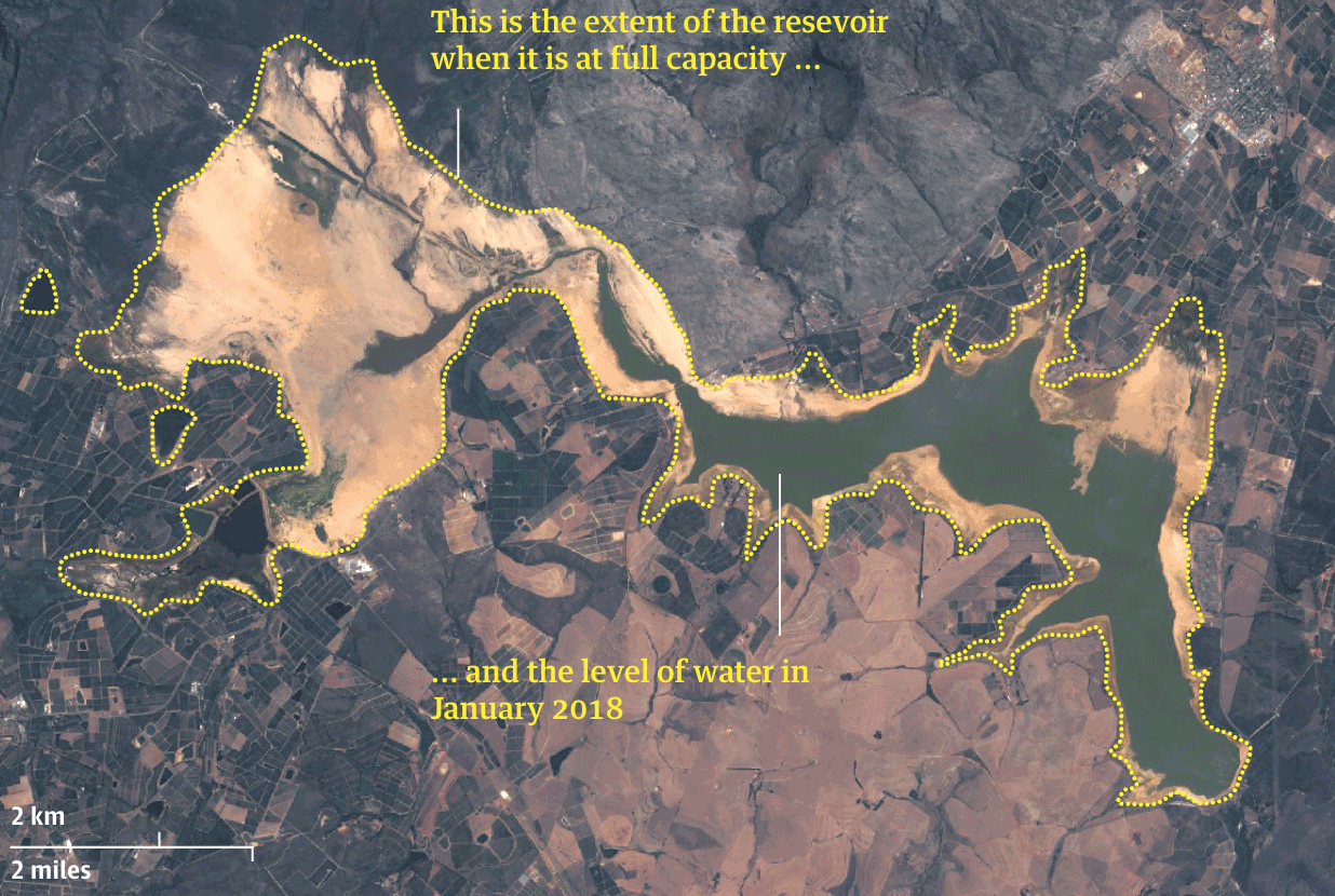mapa da seca em cape town