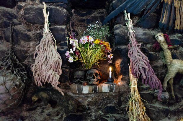 Altar numa casa em Ollantaytambo.