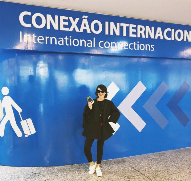 Eu pronta pra voar com a Gol pra Miami com uma rápida conexão em Brasília