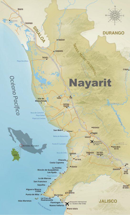 Mapa da Riviera Nayarit