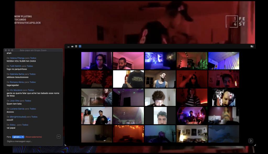 Printscreen da zoom party produzida pelo projeto 1/4 Club.