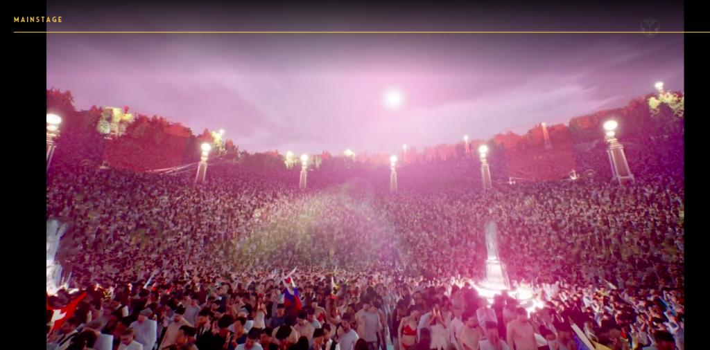 Vista do palco criado em realidade virtual para o festival Tomorrowland