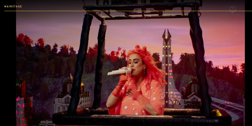 Imagem do show da Katy Perry durante o festival digital Tomorrowland 2020