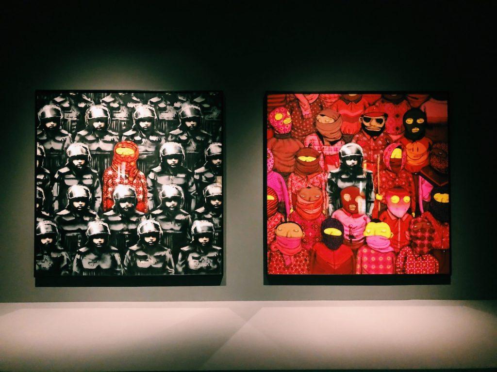 O díptico feito com o Banksy encerra a exposição OSGÊMEOS: Segredos - foto: Renato Salles