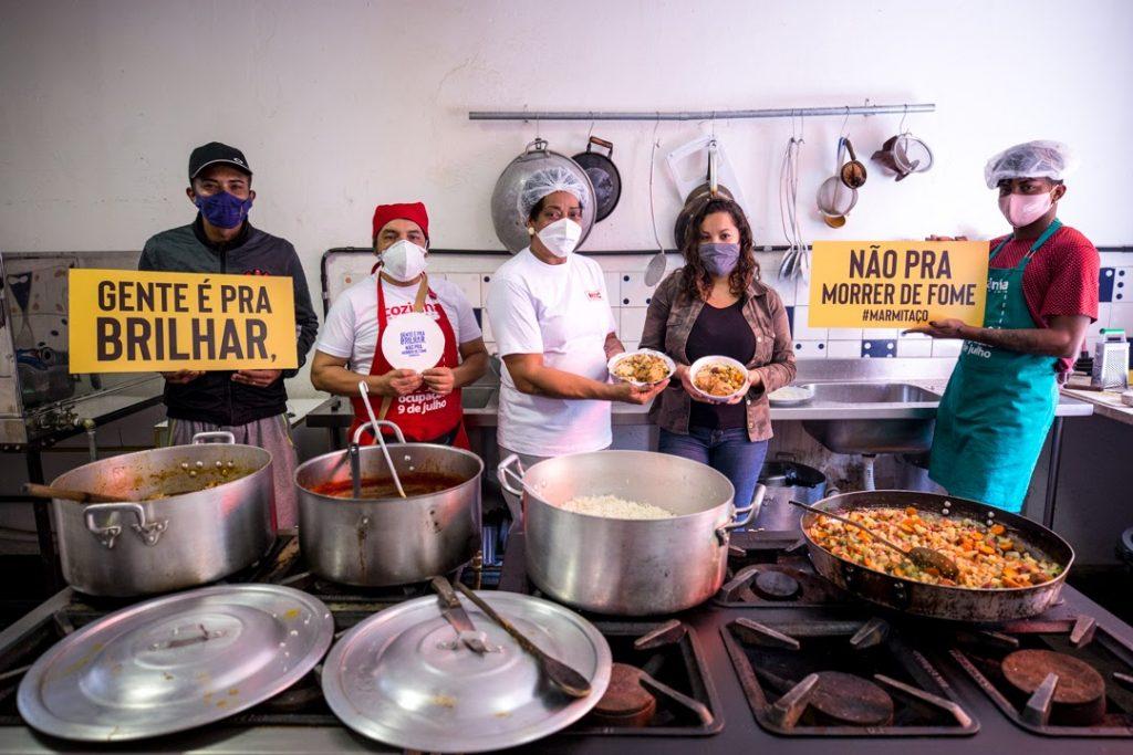 A Cozinha da Ocupação 9 de Julho participará da campanha 'Gente é para brilhar, não para passar fome', do Coletivo Banquetaço.