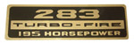 1964 Valve cover decal, 283 Turbo-Fire 195