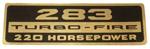 1966 Valve cover decal, 283 Turbo-Fire 200 Horsepower