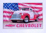 1970 Refrigerator magnet, red and white 1951-53 Chevrolet Pick-up