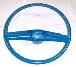 1970 Steering wheel and horn button cap, medium blue