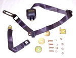 1970 Retractable bench seat belt with shoulder strap, black webbing and push button buckle
