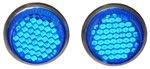 1970 Reflector license fasteners with blue plastic lenses