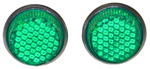 1970 Reflector license fasteners with green plastic lenses
