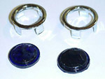1937 Blue dots with chrome ring, for all taillight lenses