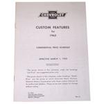 1962 Custom features booklet