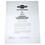1974 Accessory listing