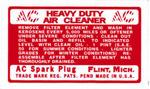 1940-1946 Air cleaner decal