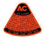 1947-1955 Air cleaner decal