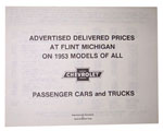 1953 Advertised Delivered Prices booklet