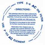 1954-1962 Oil filter decal