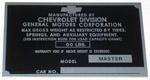 1939-1941 Vehicle identification plate