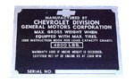 1951-1952 Vehicle identification plate