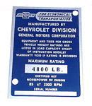 1953 Vehicle identification plate
