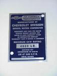 1954-1955 Vehicle identification plate