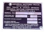 1953-1955 Vehicle identification plate