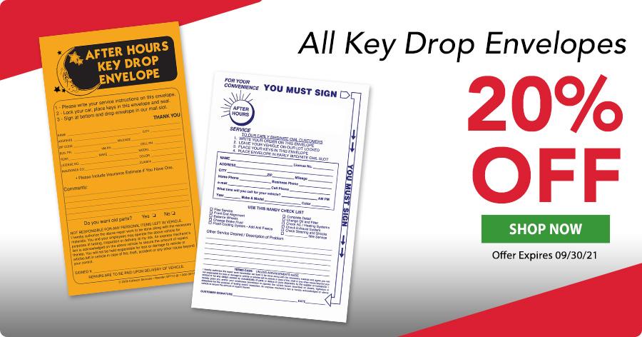 Key Drop Envelopes