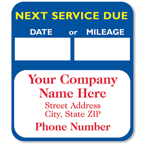 High-Visibility Auto Service Reminder Stickers - Blue