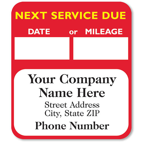 High-Visibility Auto Service Reminder Stickers - Red