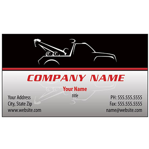 Full Color Auto Repair Business Cards Silhouette Towtruck