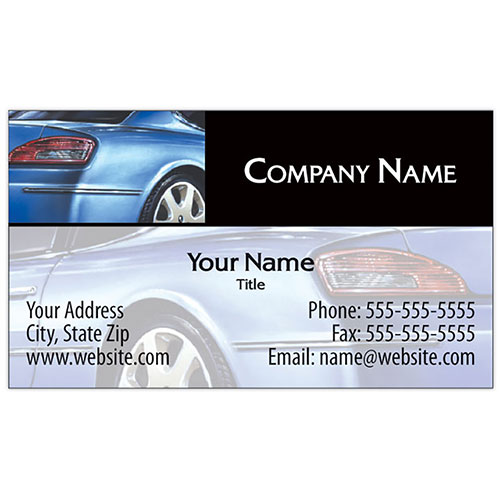 Full-Color Auto Repair Business Cards - Rear View, Blue