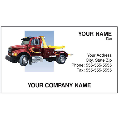 Full Color Auto Repair Business Cards Tow Truck Red