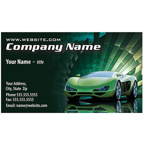 Full-Color Auto Repair Business Cards - Green Burst