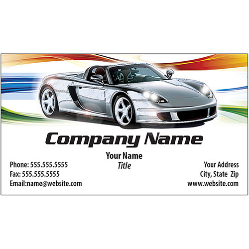 Auto Repair Business Cards with Foil - Silver Holographic - Design 1